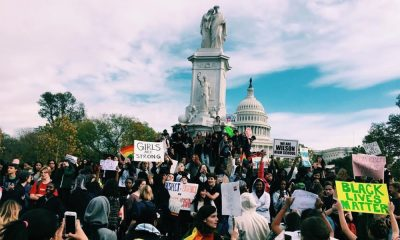 Hundreds of students from all over the DC metro area rally in front of the Capitol building to protest Donald Trump's policies and behavior. Photo courtesy of Rachel Rosenheim.