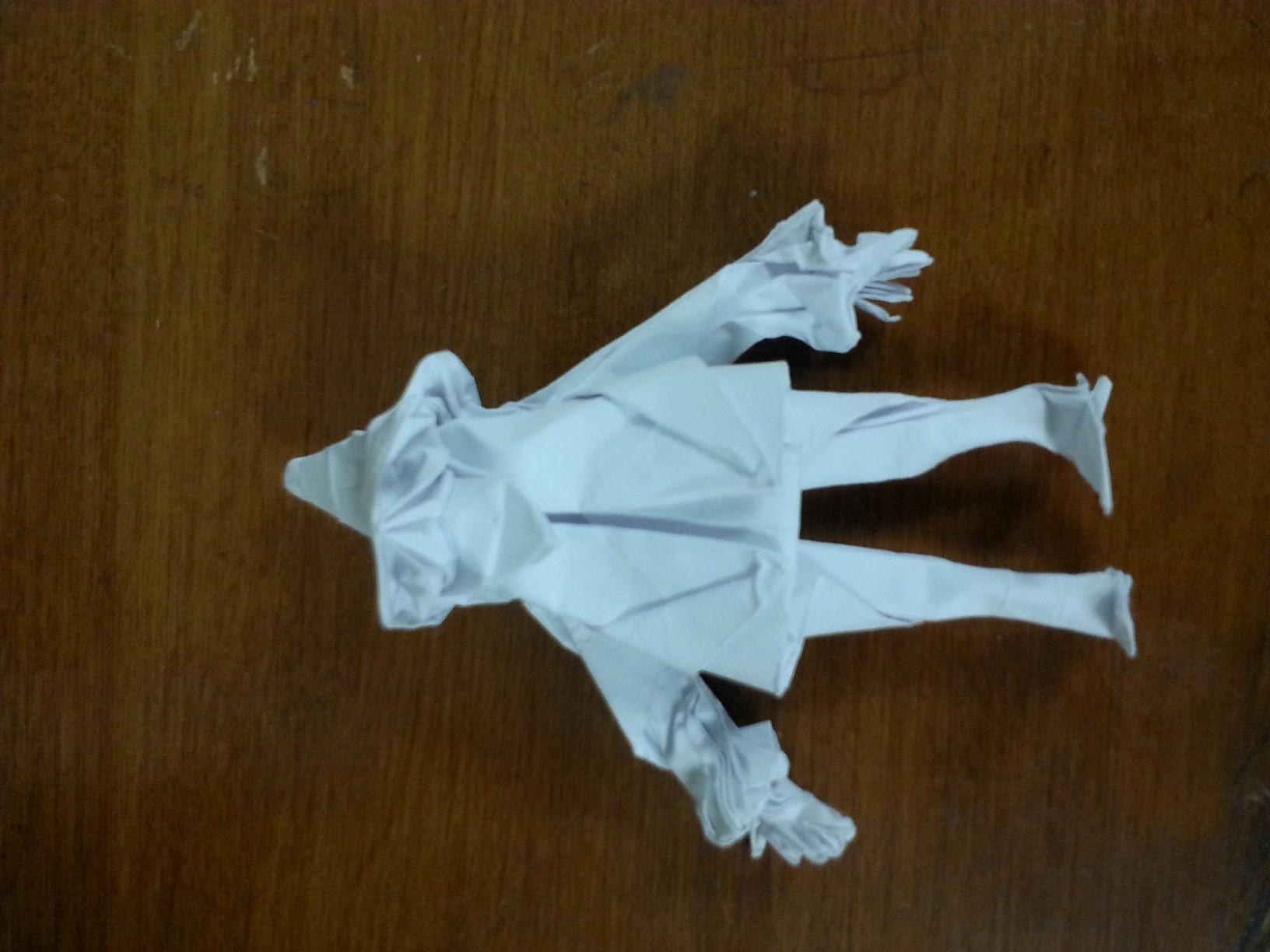 An example of an origami wizard, created by club president and founder, freshman Michael Gancz.