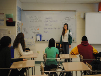 Club President, senior Isabel Moreno, discusses upcoming fundraisers with the club.