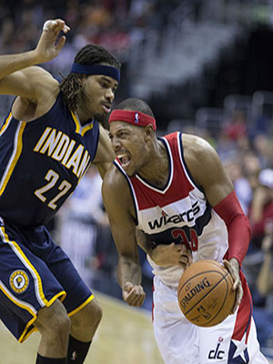 Paul Pierce goes to the basket against the Indiana Pacers earlier this season.