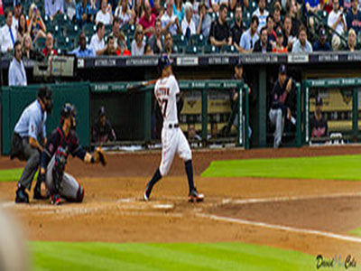 Houston Astros' second baseman Jose Altuve swings at a pitch.