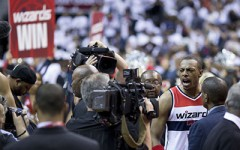 Wizards Small Forward Paul Pierce celebrates after hitting a buzzer beater in a 103-101 victory over the Atlanta Hawks in game 3 of the Eastern Conference Semifinals.