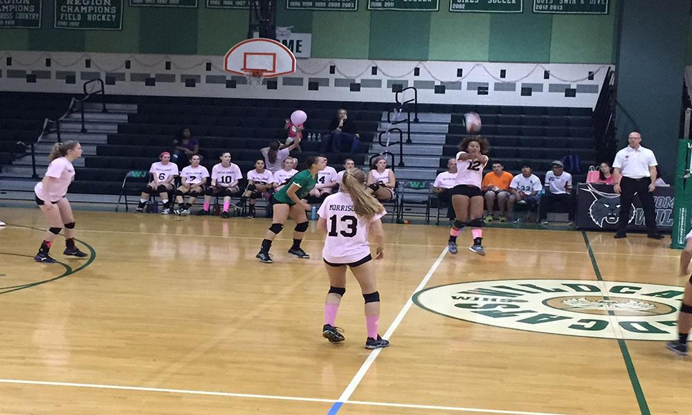 WJ varsity girls volleyball showcases overwhelming spirit for 'dig pink'