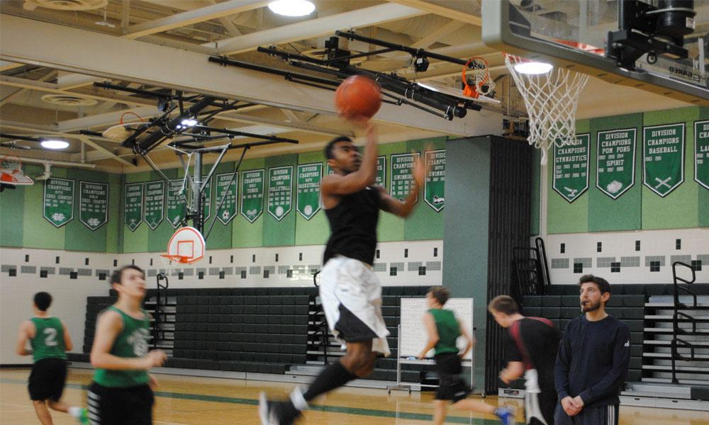 WJ students try out for the boys' varsity basketball team