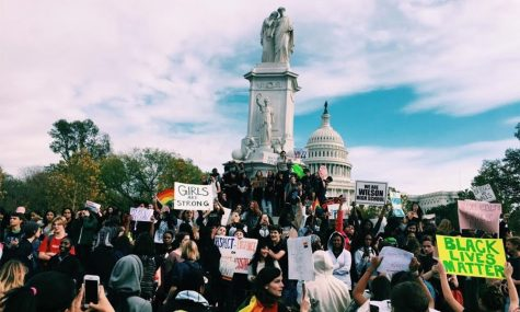 Hundreds of students from all over the DC metro area rally in front of the Capitol building to protest Donald Trump