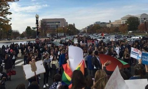 Hundreds of students take part in this walkout and protest, blocking off many DC streets with their huge numbers. Photo courtesy of Claudia Angel Guerrero.