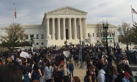 The Supreme Court building is another stop on the protest trail, both as a protest of Trump's election and his future appointee to the Supreme Court. Photo courtesy of Claudia Angel Guerrero.
