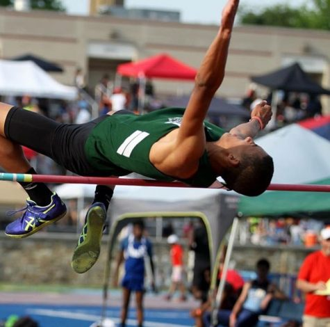 Senior Andrew Leverenz competes in the high jump, his signature event, at a county meet. Photo Courtesy of Andrew Leverenz