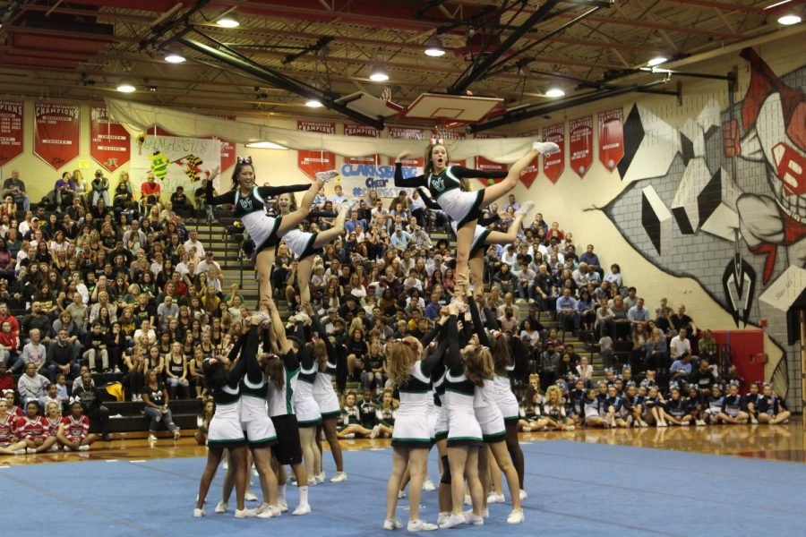 WJ+cheer+does+their+one+leg+stunt+during+the+competition+on+Saturday.+WJ+took+away+the+spirit+award+from+Blair+who+has+had+it+the+past+twelve+years.+