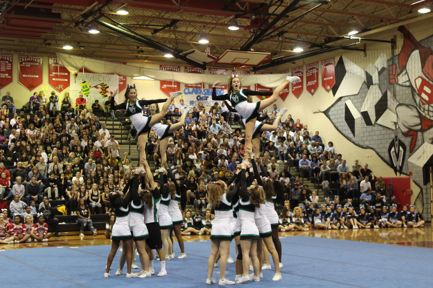 WJ cheer does their one leg stunt during the competition on Saturday. WJ took away the spirit award from Blair who has had it the past twelve years.
