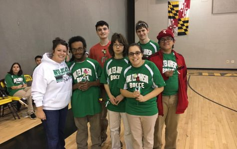 WJ bocce seniors line up next to Coach McArdle (left). Photo courtesy of Gerald Gruber.