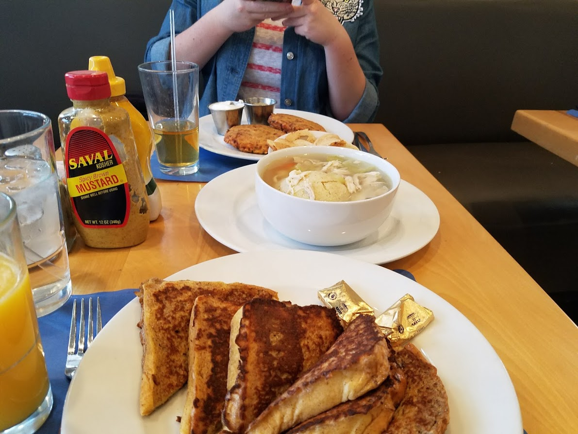 Pictured is the challah french toast and matzo ball soup. Photo by Hannah Markov and Jane Fleischman.
