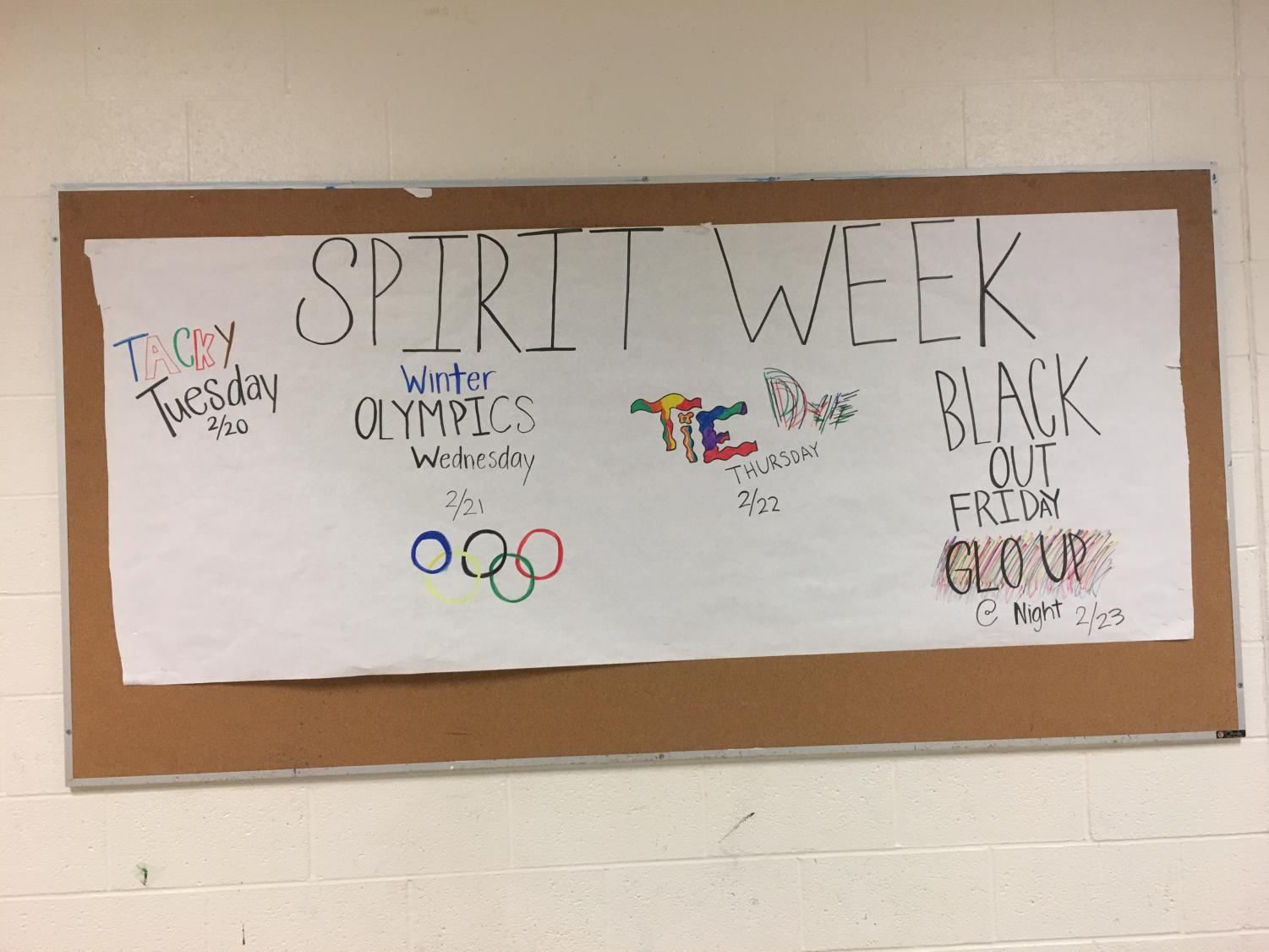 Spirit week for the week of 2/20 is shown above. Students aren't participating in Spirit Week as much as they used to