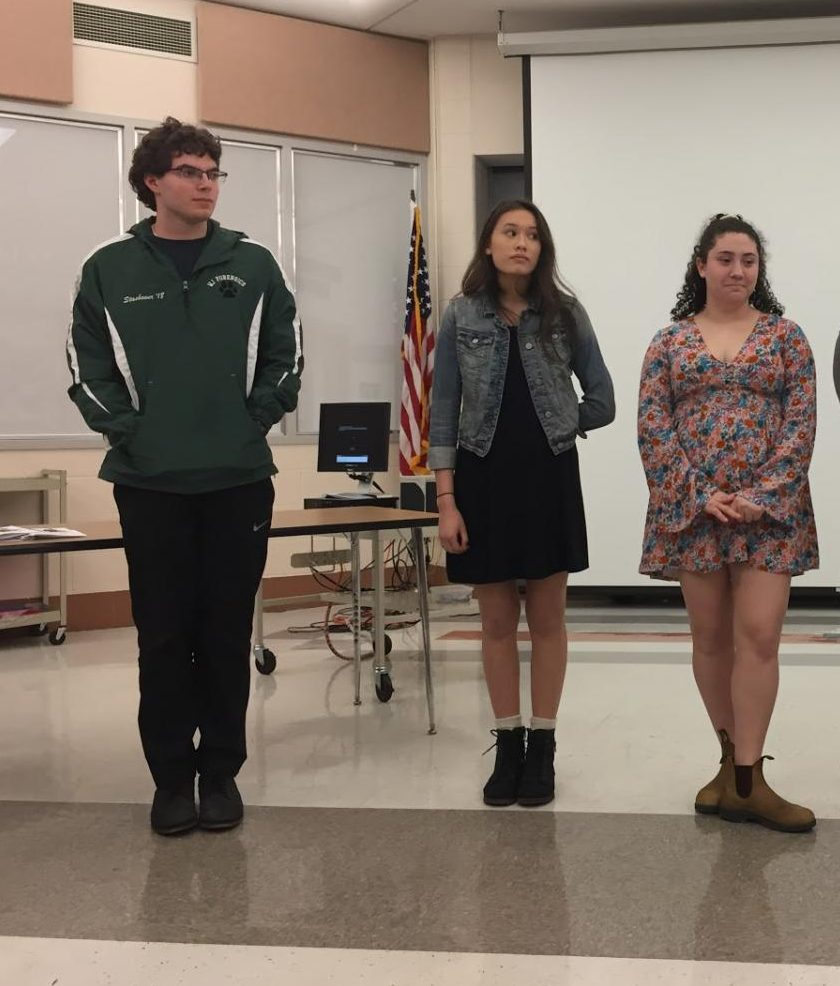 "County finalists line up to hear the results from the ""Drama Interpretation"". Seniors  (from left) Sam Stashower, Maiya Trombley and Sophie Schulman all placed in the top six in the county."