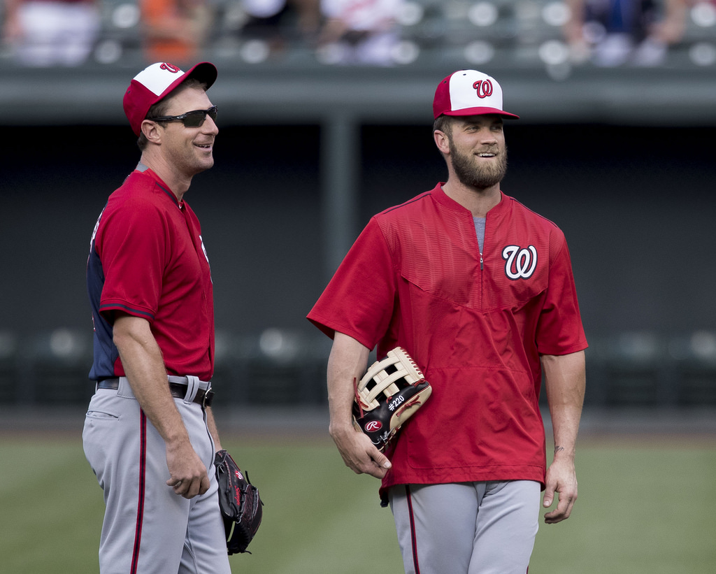 The Washington Nationals have had one of the most successful teams within the past six years. Pitcher Max Scherzer (left) has won two Cy Young awards and outfielder Bryce Harper (right) has won an MVP within that span.