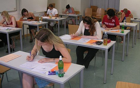 Students take part in a final exam at the University of Vienna. WJ students have worked tirelessly in recent years in order to hold exam sessions of their own to prep for college and demonstrate their topical know-how.