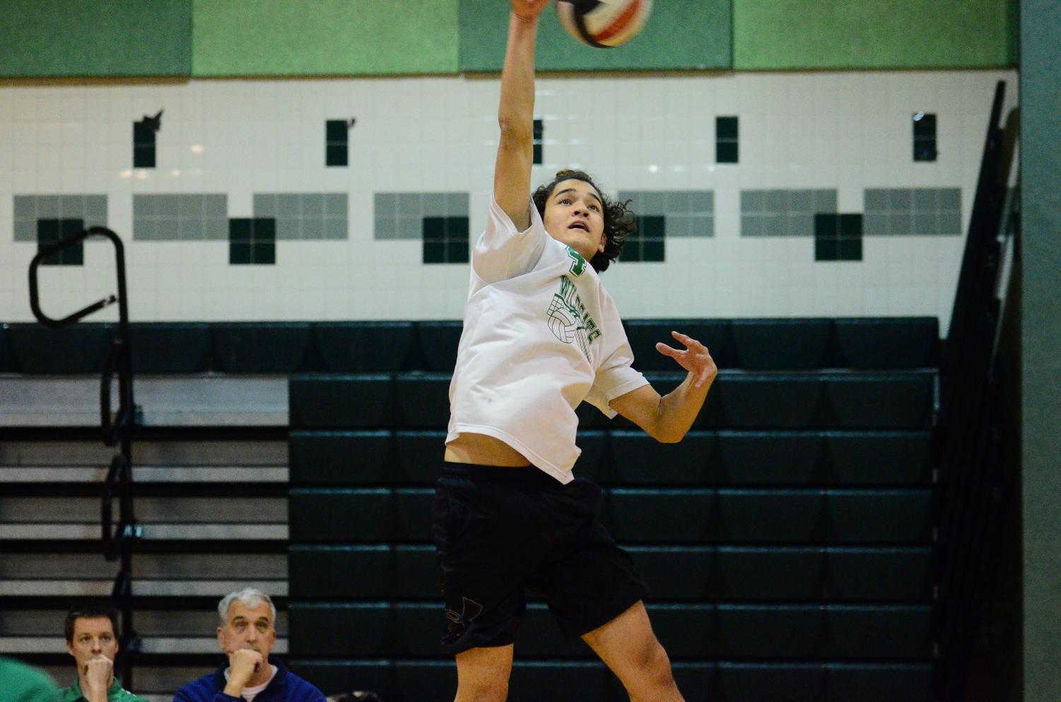 Senior Patrick Domenche spikes the ball over the net in their last match.