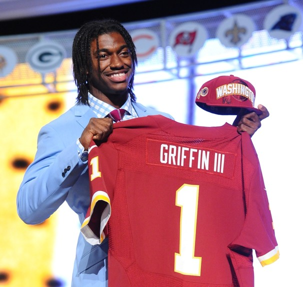 Former Redskins quarterback Robert Griffin III was one of the biggest prospects coming into the 2012 NFL draft. After leading the Redskins to the playoffs in his first year, he regressed in production as years went on. Courtesy of Pintrest.