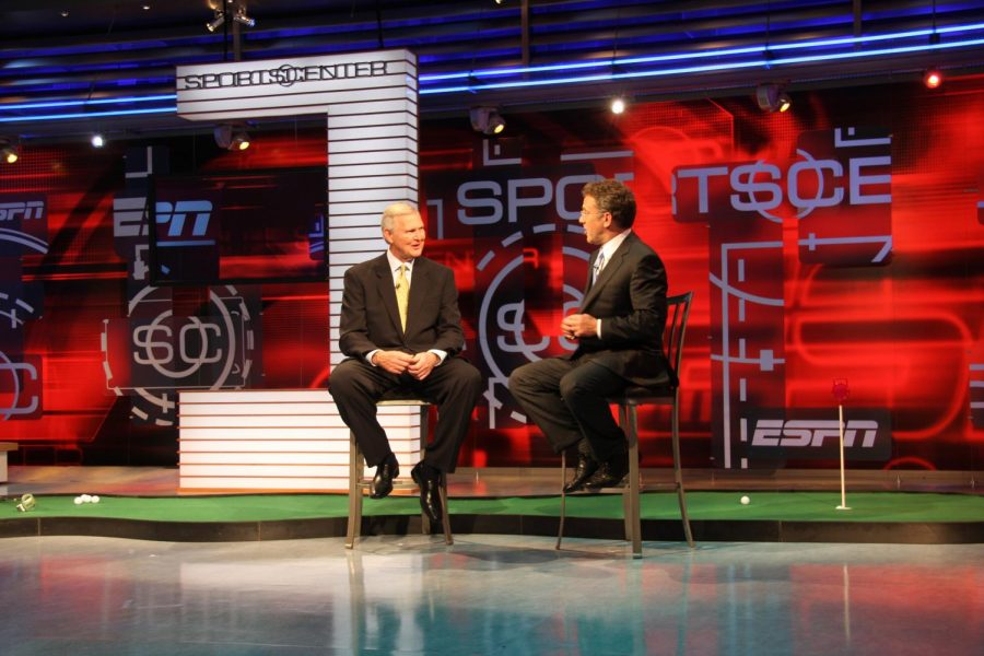 ESPN anchors debate current topics in sports. More and more people now have access to sports coverage via television and the internet.