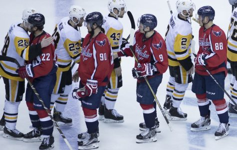 Capitals and Penguins handshake after a game. The Capitals beat the Penguins in game 6 of round 2 of the Stanley Cup Playoffs.