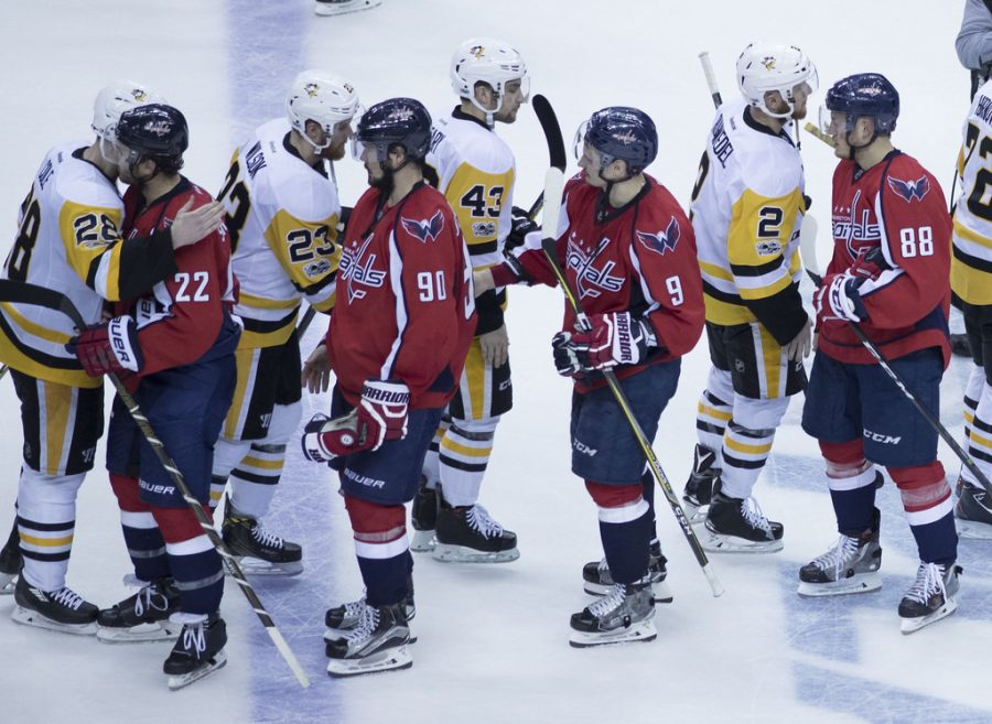Capitals+and+Penguins+handshake+after+a+game.+The+Capitals+beat+the+Penguins+in+game+6+of+round+2+of+the+Stanley+Cup+Playoffs.