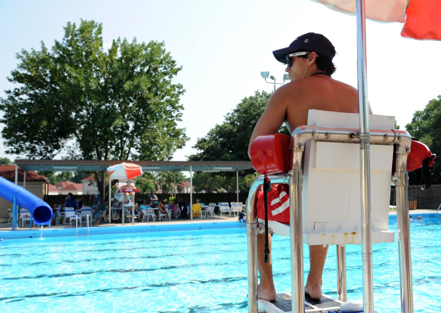 Freshman Henry Bagshaw lifeguards at his local pool. The summer is a great time for students to earn a little extra money in their free time. Photo courtesy of Molly Benson.