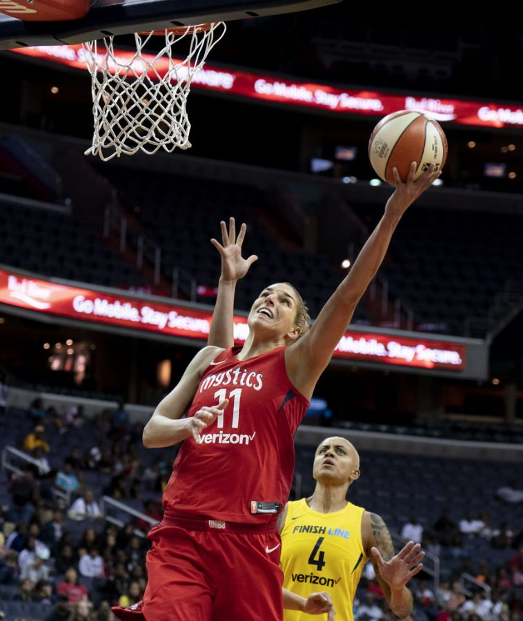 Mystics forward Elena Delle Donne skies in for a layup in a regular season game against the Indiana Fever.