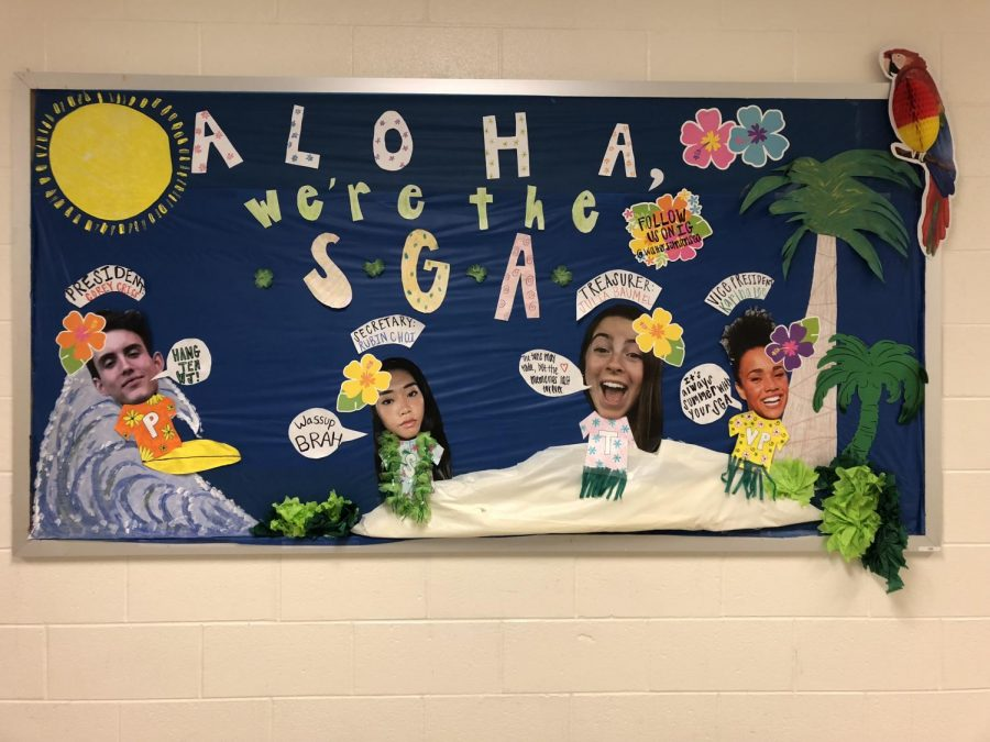 The+new+SGA+keeps+the+tradition+going+by+creatively+decorating+their+bulletin+board.+This+year%27s+SGA+is+bringing+new+and+improved+wildcat+spirit+to+the+school.
