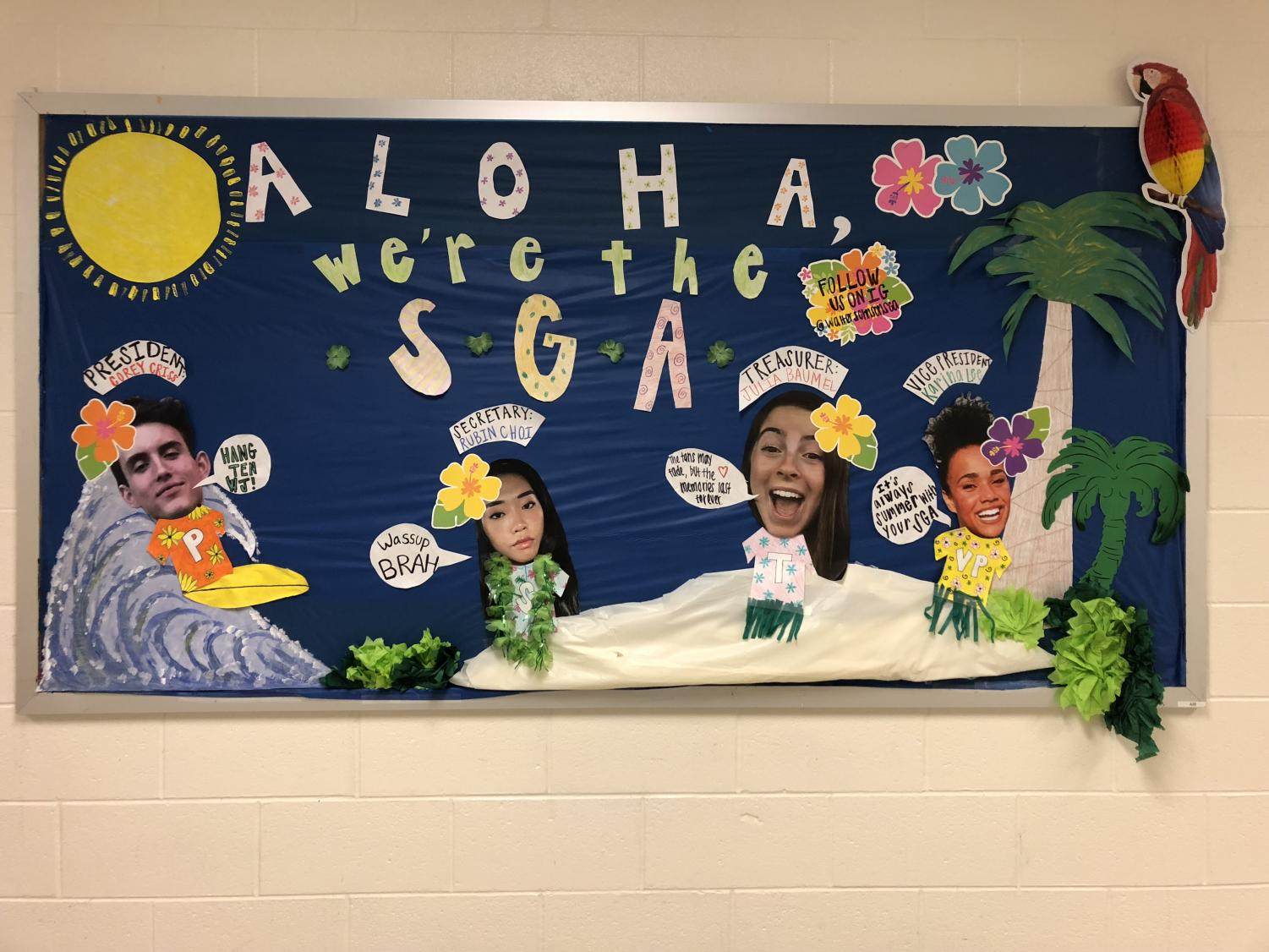 The new SGA keeps the tradition going by creatively decorating their bulletin board. This year's SGA is bringing new and improved wildcat spirit to the school.