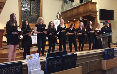 Vanilla singing at the Bethesda United Methodist Church. Last Sunday, all of the a cappella groups sang at the church along with various other performers and speakers in commemoration of all of the lives lost to gun violence in this year alone.