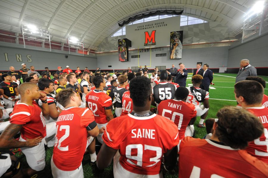 Governor+Hogan+visits+University+of+Maryland+Football+Team.+Jordan+McNair%27s+death+sparked+a+lot+of+national+coverage.
