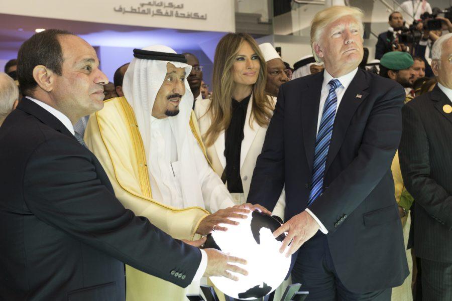 Egyptian President Abdel Fattah el-Sisi, King Salman of Saudi Arabia, Melania Trump, and Donald Trump at the 2017 riyadh summit. The United States has very close ties with Saudi Arabia. Photo courtesy of the White House