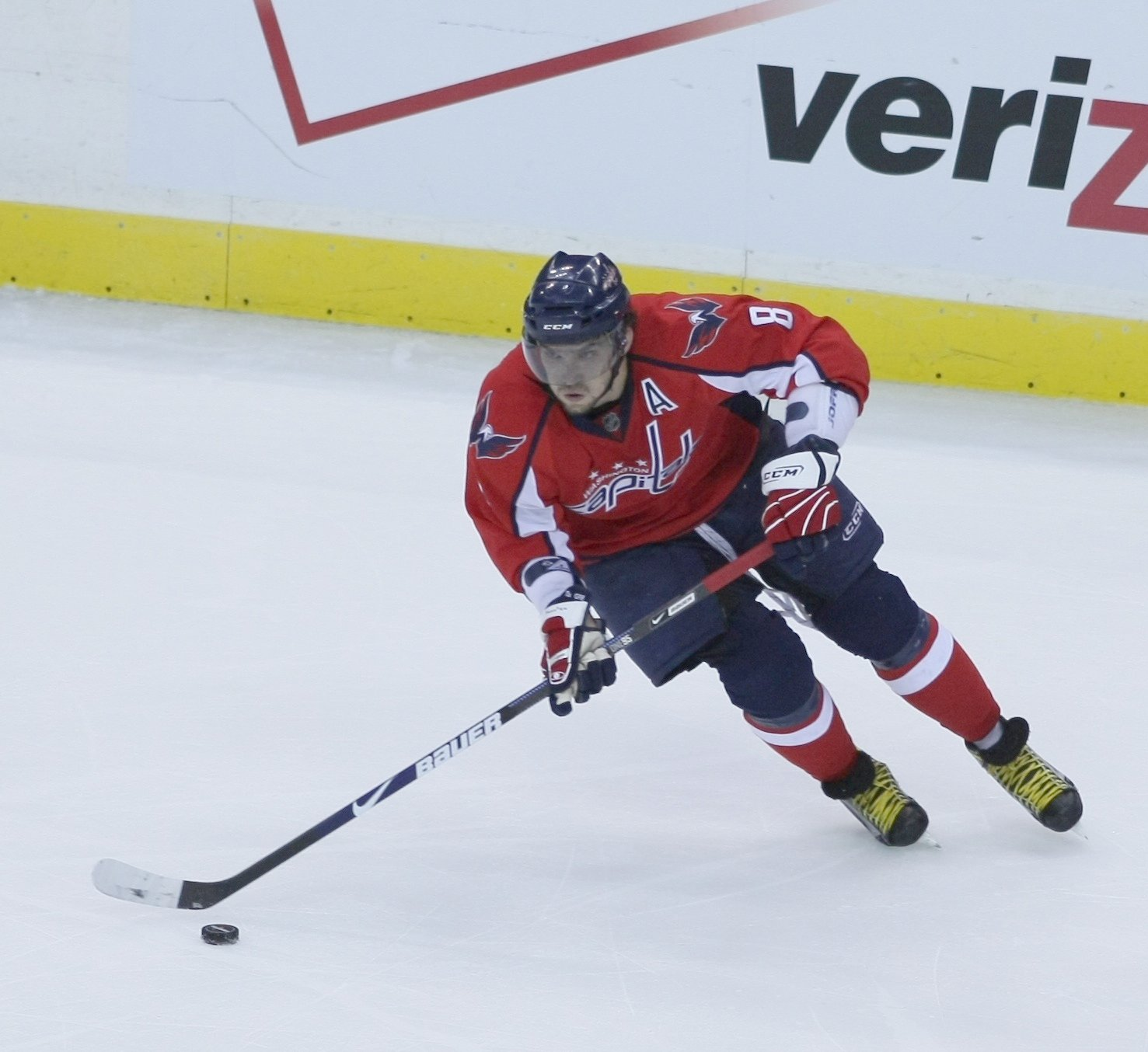 Captain Alexander Ovechkin skates with the puck in a regular season game. Ovechkin looks to lead the team to another Stanley Cup this season.