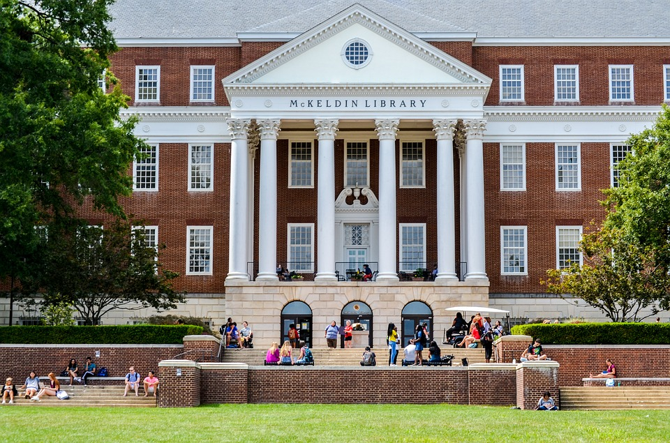 Students relax at McKeldin Library at the University of Maryland College Park. While the University of Maryland does not offer Early Decision, many students apply Early Action (non-binding) in order to increase their chances of being admitted.