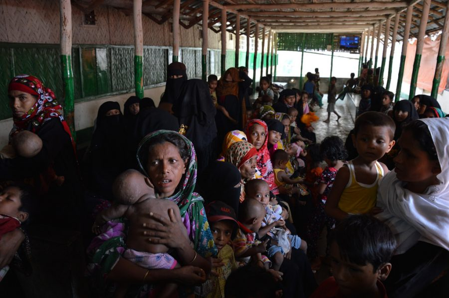 Rohingya refugees waiting for consultation by a clinic funded by the European Commission. Due to the fact that undocumented refugees have no access to healthcare, the European Commission has set up and funded various clinics throughout the region.