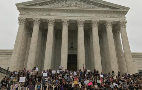 Protesters assemble on the steps of the Supreme Court after the announcement of Brett Kavanaugh's confirmation.