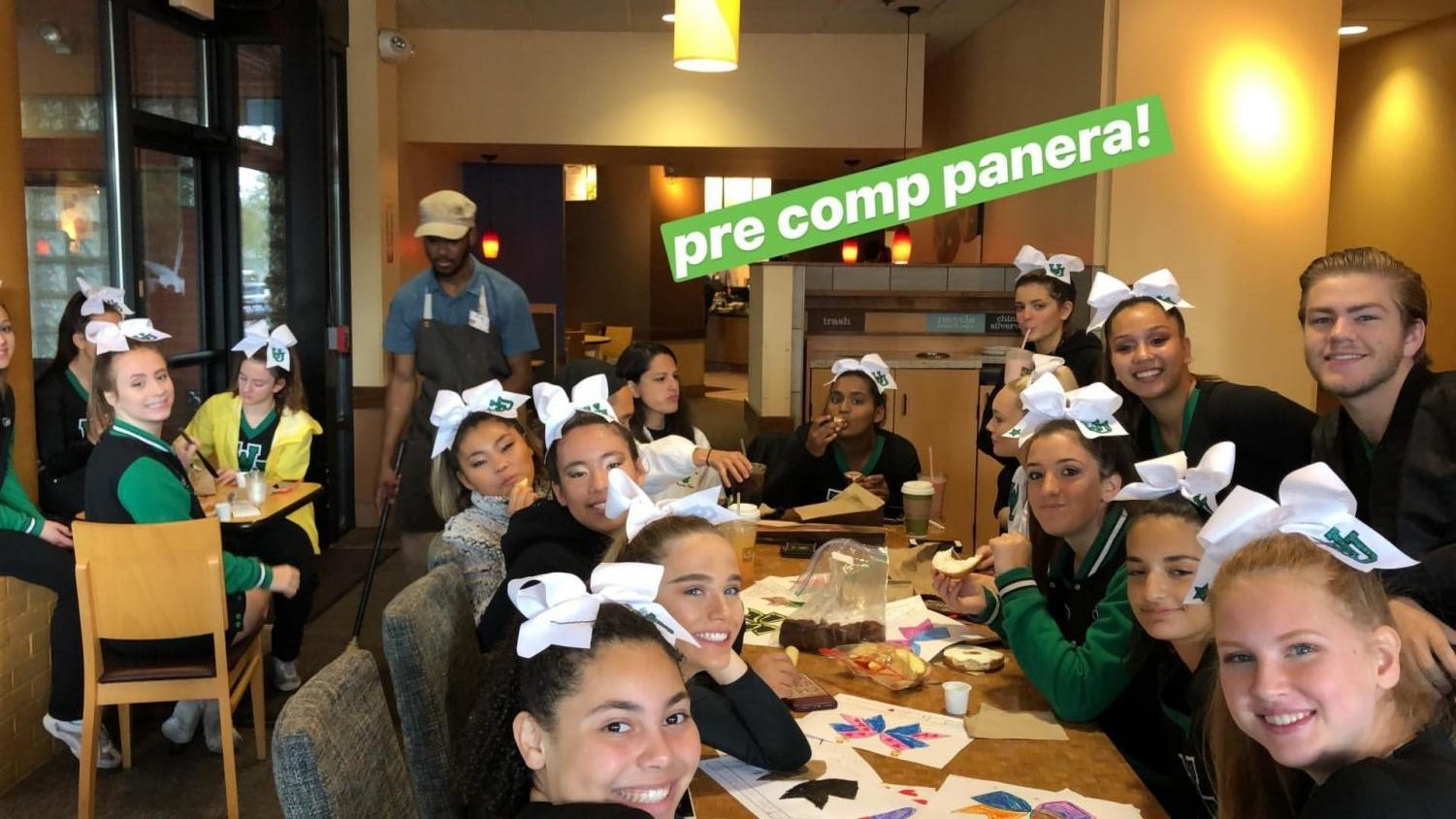 The varsity cheer team goes out for a team lunch with time to spare before they compete. Bonding with your teammates helps alleviate the stress level and make lasting relationships, which play an important role on the mat/field.