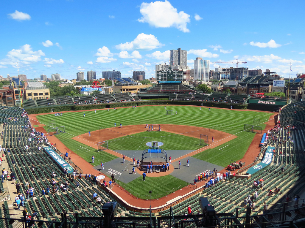 Wrigley Field, home of the Chicago Cubs. The Cubs were forced to play in the Wild Card game despite having the second best record in the NL.