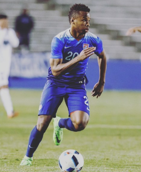 U-20 US Men's National Team striker and Walter Johnson alumnus Jeremy Ebobisse looks for a pass during an international friendly against Costa Rica. The US won 4-0.
