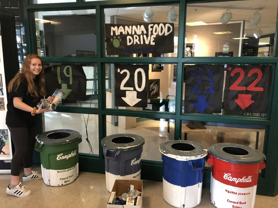 Senior+Grace+Burgett+places+some+canned+goods+into+the+senior+bin.+She+is+part+of+the+Leadership+class+that+collects+the+donations+at+the+very+end+of+the+fundraiser.+%0A