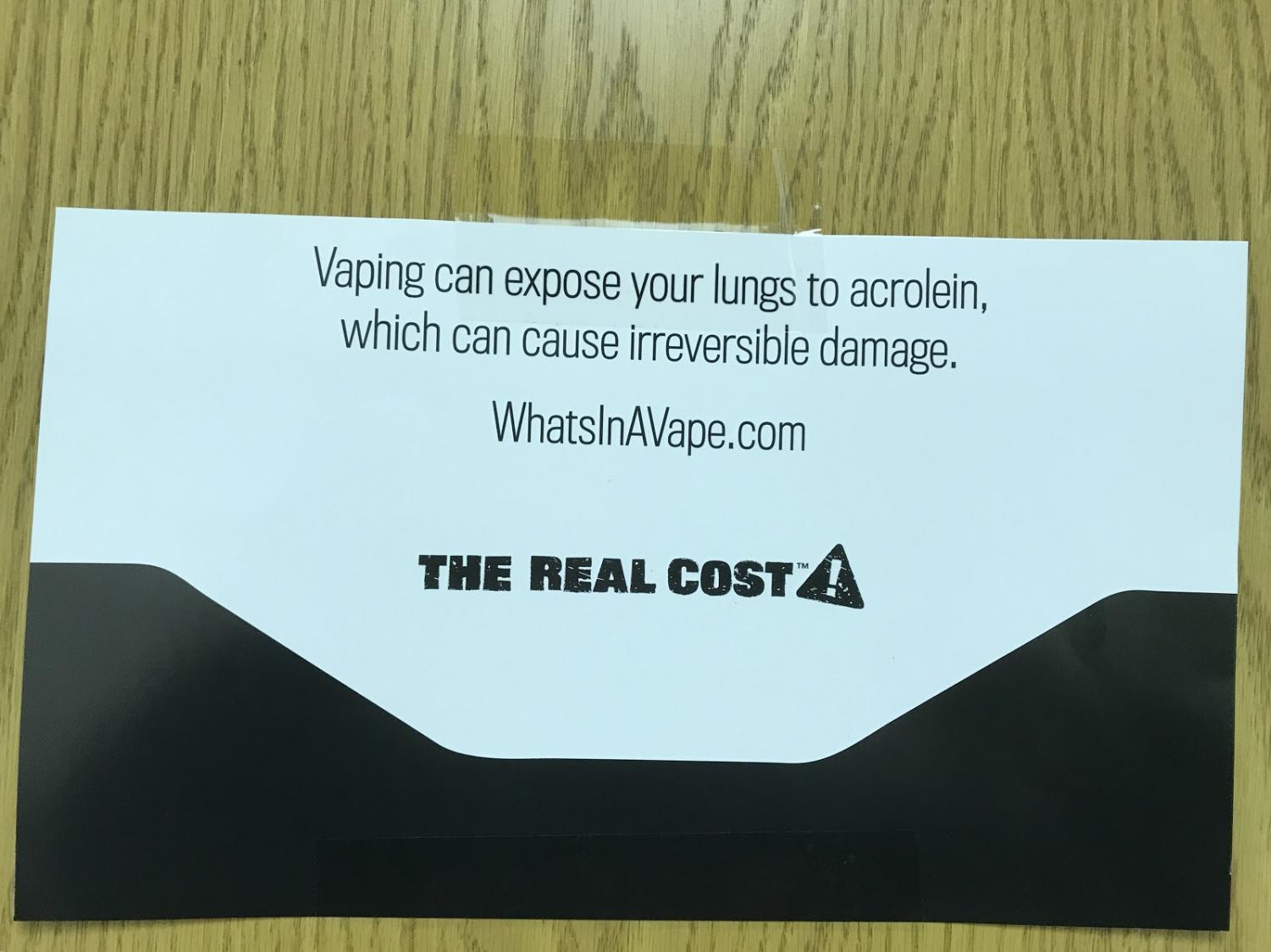 Montgomery County schools are plastering ads like these in school bathrooms to persuade students to put down the Juuls.