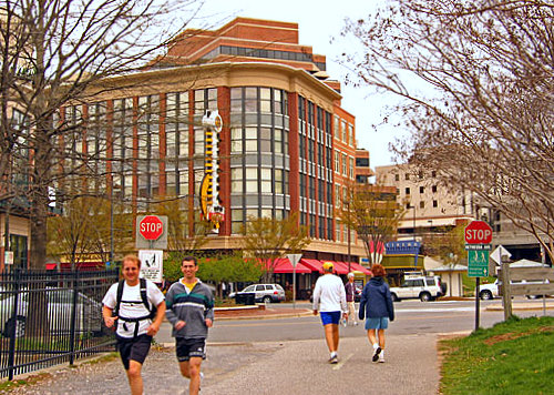 Runners enter the Capital Crescent Trail, which feeds into Bethesda Avenue. The trail was established in 1966 and the Bethesda-Silver Spring portion was temporarily closed in September of 2017.