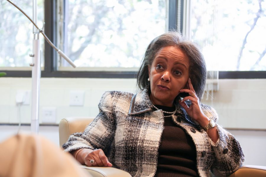 Sahle-Work Zewde sits in on a meeting at UNON Nairobi, Kenya in 2016. Her previous experience as the General of the United Nations Office at Nairobi will help improve policy action during her presidency.