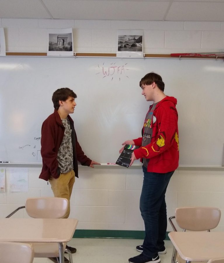 Juniors Dylan Rose and Trent Powell discuss plans for their new projects. The Filmmakers Association was formed last February.