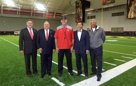 DJ Durkin with Wallace Loh and Kevin Anderson being visited by Governor Larry Hogan. Durkin was fired by Loh shortly after it was announced he would be retained.