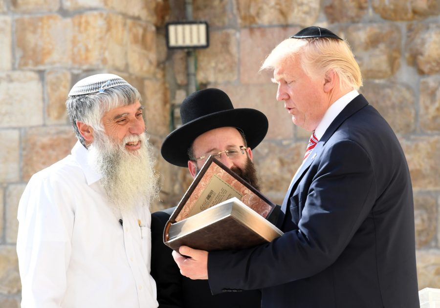 President Trump on his visit to Jerusalem in 2017. Many have accused the president of inspiring radical conservatives to carry out acts of terror.