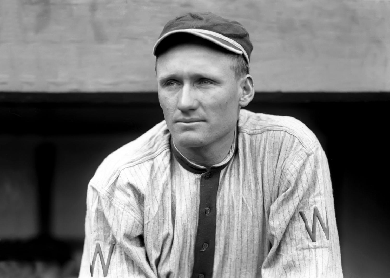 Walter Johnson looks onto the field during a game with the Washington Senators. After baseball, Johnson served on the Montgomery County Council and made a difference in the community.
