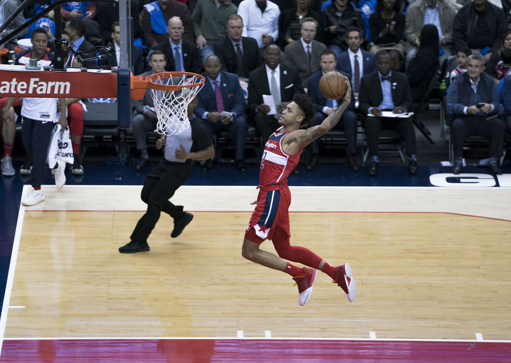 Wizards forward Kelly Oubre Jr. skies for a slam dunk. Oubre is currently in his fourth season with the team.
