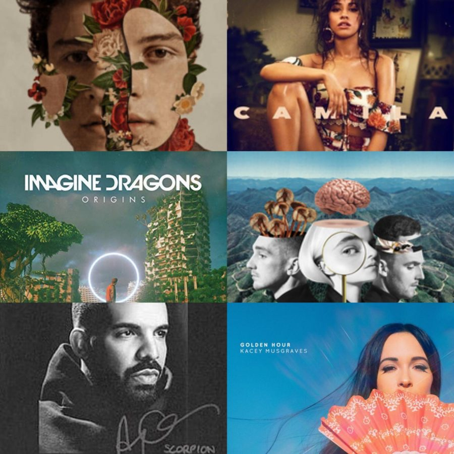 Shawn+Mendes%2C+Camila%2C+Origins%2C+What+is+Love%3F+and+Scorpion+album+covers+courtesy+of+Wikimedia+Commons.+Golden+Hour+album+cover+courtesy+of+itunes.%0A%0ANew+albums+were+released+in+each+genre+this+year%2C+with+many+of+them+now+grammy+nominated.+This+year+new+artists+emerged%2C+such+as+Camila+Cabello%2C+and+old+pros+like+Drake+continued+to+top+the+charts.