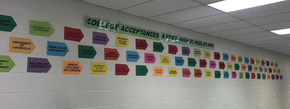 Near the college and career center there is a wall with students plans for the future.